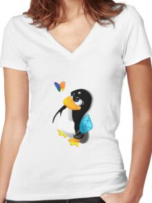 What are you doing, Tux? Women's Fitted V-Neck T-Shirt