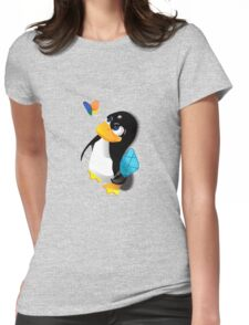 What are you doing, Tux? Womens Fitted T-Shirt