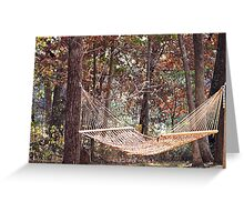 Relaxing in a Hammock during the change of seasons Greeting Card