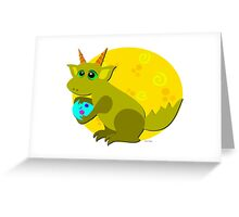 Baby Dragon Loves Eggs Greeting Card