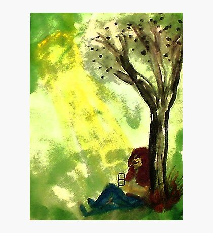 Reading is knowledge, watercolor Photographic Print