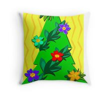 Tropical Christmas Tree for the Holidays Throw Pillow