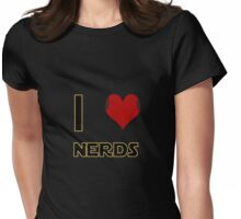 I Heart Nerds (Star Wars style with Princess Leia buns) Womens Fitted T-Shirt