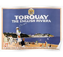 Torquay Vintage Travel Poster Restored Poster
