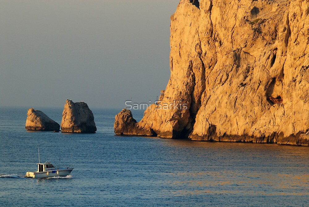 Fishing boat near Maire Island at sunrise by Sami Sarkis