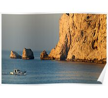 Fishing boat near Maire Island at sunrise Poster