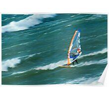 Man windsurfing in sea Poster