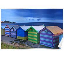 Brighton beach boxes at dusk Poster