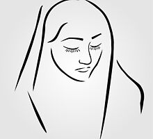 A nun wearing a veil with eyes closed in silent prayer by Shawlin Mohd