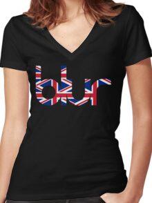 Blur UK Logo Women's Fitted V-Neck T-Shirt