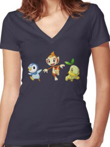 pokemon starter Women's Fitted V-Neck T-Shirt