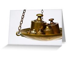 Copper weights on scale Greeting Card