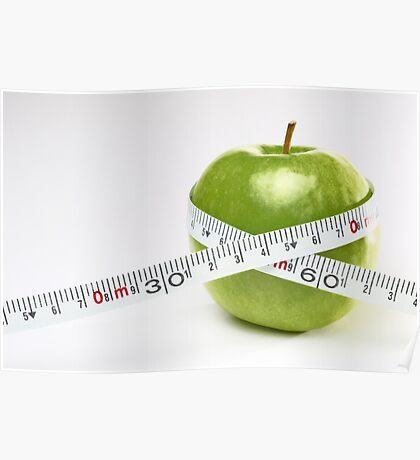 Tape measure round green apple Poster