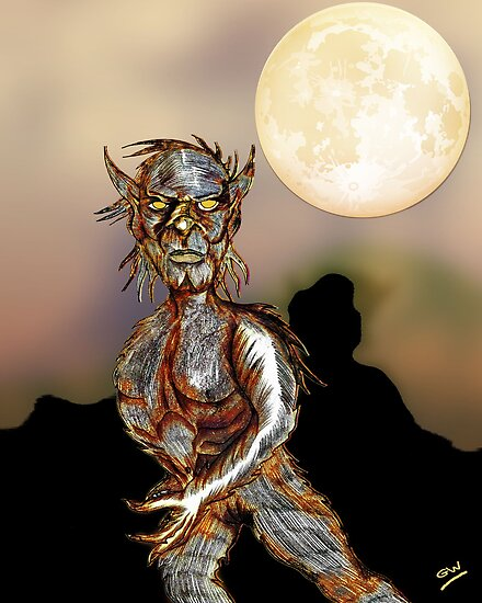 Wolfman and Full Moon by Grant Wilson