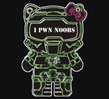 I Pwn Noobs Halo Kitty (T-Shirt) by PopCultFanatics