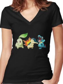 pokemon starter 1 Women's Fitted V-Neck T-Shirt