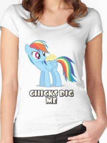 "Rainbow Dash - ""Chicks"" Women's Fitted Scoop T-Shirt"