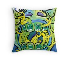 Hungry Apples psychedelic poster Throw Pillow