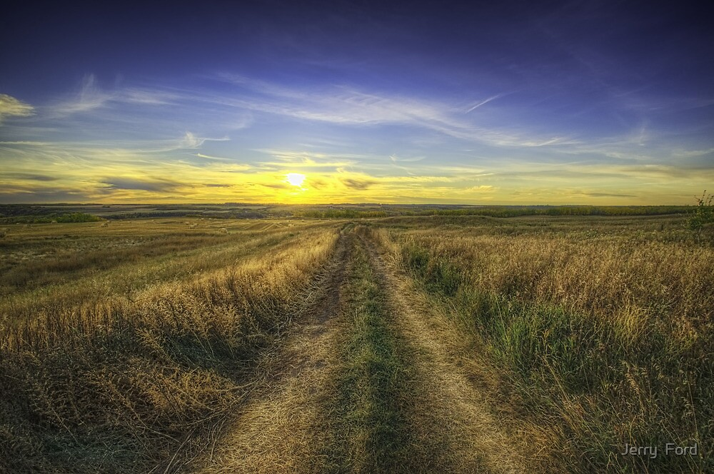 Sunset Over Country Road HDR by Myron Watamaniuk