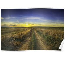 Sunset Over Country Road HDR Poster