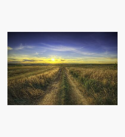 Sunset Over Country Road HDR Photographic Print