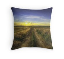 Sunset Over Country Road HDR Throw Pillow