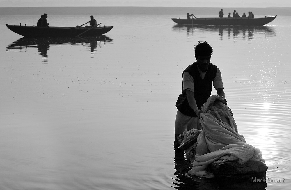 Washing in the Ganges river by Mark Smart