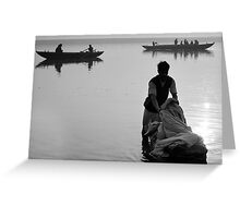 Washing in the Ganges river Greeting Card