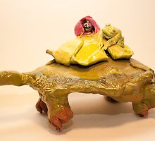 Tortoise with lily pad and frog by Nora Fraser