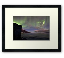 The rock & aurora Framed Print