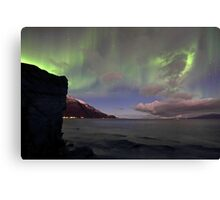 The rock & aurora Canvas Print