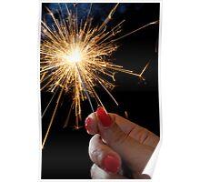 Woman holding sparkler Poster