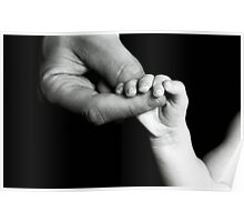 Father holding hand of baby Poster