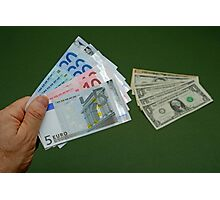 Man holding Euro banknotes Photographic Print