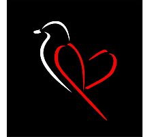 Bird with red wings shaped like heart Photographic Print
