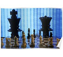 Chess board with King and Queen chess pieces in front of TV screen Poster