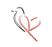 Artistic bird with red heart Photographic Print