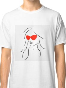 Stylish girl wearing shades  Classic T-Shirt