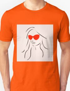 Stylish girl wearing shades  Unisex T-Shirt