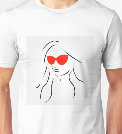 Stylish girl wearing shades  Unisex T-Shirt