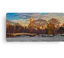 Bow Bridge In Winter Canvas Print