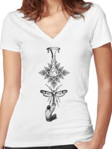 Moth Equals Women's Fitted V-Neck T-Shirt