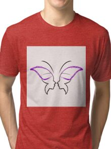 Face of a lady and butterfly Tri-blend T-Shirt