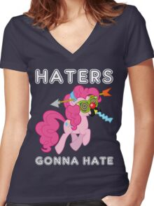 Pinkie Pie haters gonna hate with Text Women's Fitted V-Neck T-Shirt