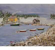 Lobster Cove in Winter Photographic Print