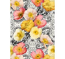 Collage of Poppies and Pattern Photographic Print