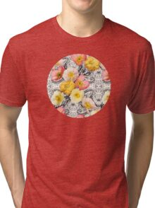 Collage of Poppies and Pattern Tri-blend T-Shirt