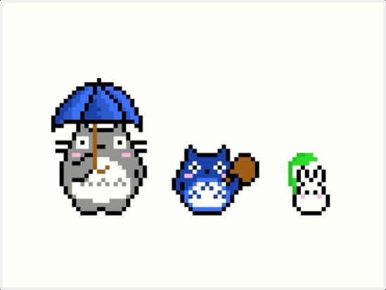 Quot Totoro Pixel Art Quot Art Prints By Galegshop Redbubble