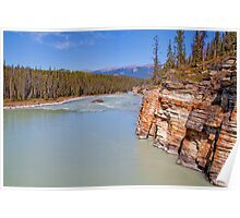 Canada. Canadian Rockies. Jasper National Park. Athabasca River. Cliff. Poster