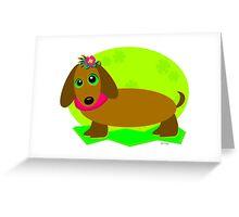 Dachshund Dog with a Flower Greeting Card